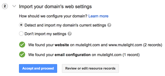 Google Domains import step