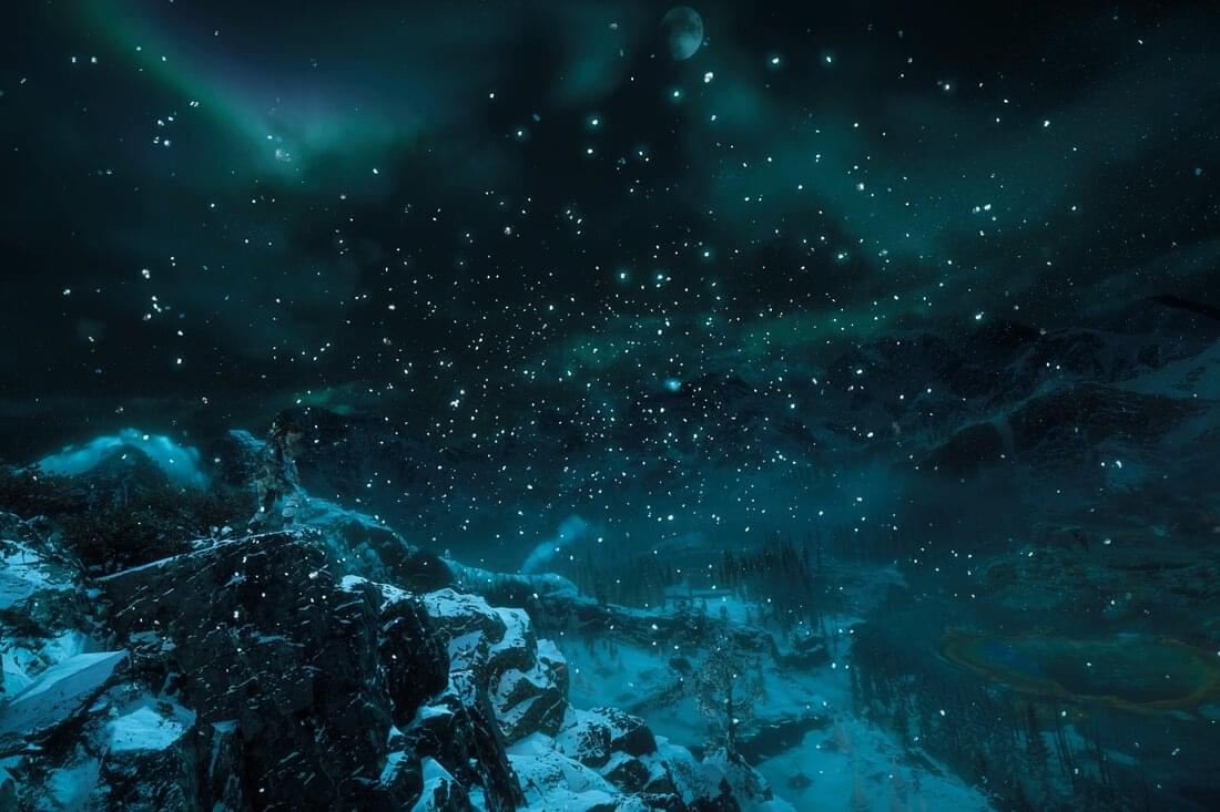 Horizon Zero Dawn – Aloy looking out on the Aurora Borealis