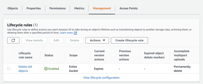 Creating an S3 lifecycle rule for expiration.